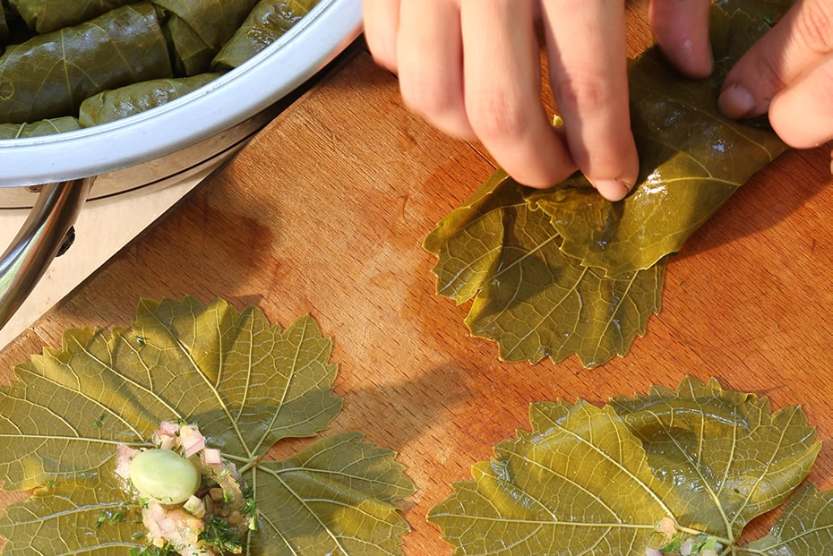 Rhodes Style Grape Leaves Stuffed With Broad Beans And Bulgur Greek Food Greek Cooking Greek Recipes By Diane Kochilas