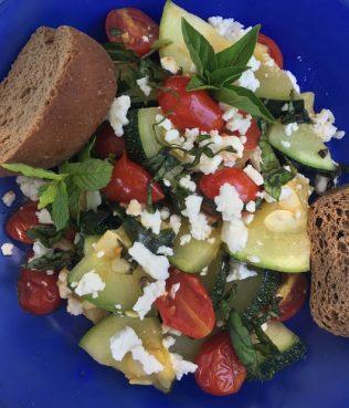 Zucchini Stir-Fry with Teardrop Tomatoes, Greek Herbs & Greek Feta