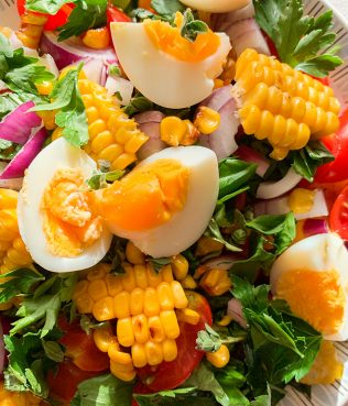 Grilled Corn & Potato Greek Salad with Purslane & Cherry Tomatoes
