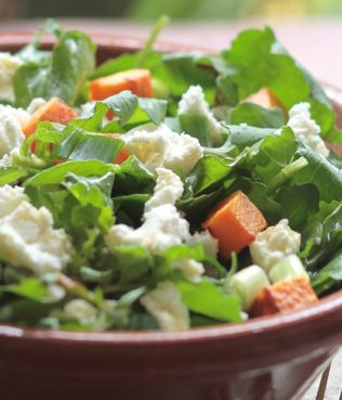 Ikaria Longevity Greek Salad with Sweet Potatoes and Arugula