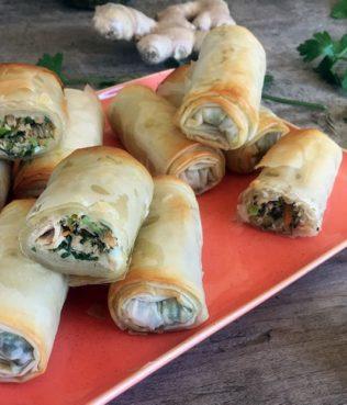 Baked Mediterranean Tuna Salad Spring Rolls