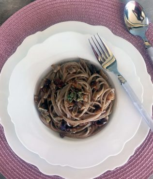 "Gyro ""Carbonara"" with Whole Wheat Spaghetti"