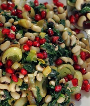 Black eyed pea salad with pomegranate