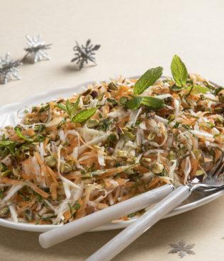 Carrot-Celery Root Greek Salad With Mastiha-Citrus Vinaigrette