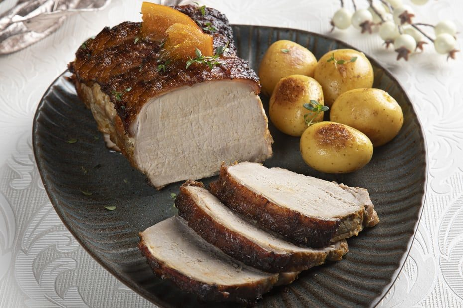 Pork Loin Glazed With Greek Preserved Oranges And Mustard Greek Food Greek Cooking Greek Recipes By Diane Kochilas