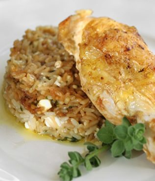 Whole Chicken Baked with Rice and Feta
