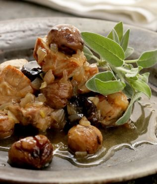 Pork Loin with Chestnuts, Hazelnuts and Dried Figs