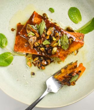 Butternut Squash Steaks with Olive Oil, Mint and Pistachios