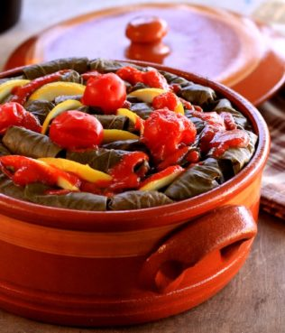 Baked Dolmades Stuffed with Fava & Santorini Tomatoes