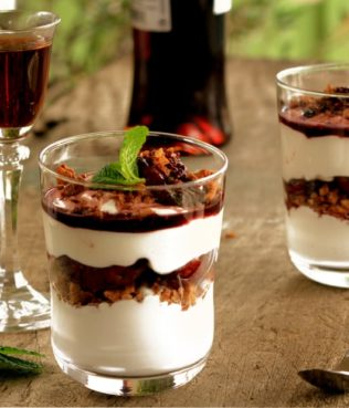 Spiced Vinsanto-Dried Fig Parfaits with Whipped Cream and Greek Yogurt