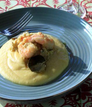 "Shrimp ""Assyrtico"" - with Caper Leaf Pesto over Fava Puree"