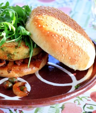 "Fava ""Burgers"" Topped with Santorini Tomato Paste Arugula & Caramelized Onions"