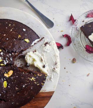 Greek Olive Oil Chocolate Cake with Mastiha Cream