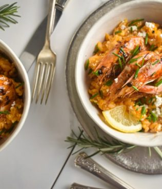 Shrimp Saganaki Risotto