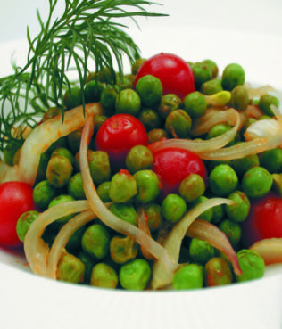 Slow-Cooked Peas with Tomatoes and Herbs