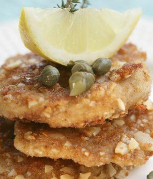 Greek-Style Chicken Schnitzel with Ground Almonds Santorini Capers