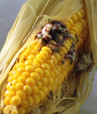Grilled Corn On the Cob With Kalamata Olive Butter