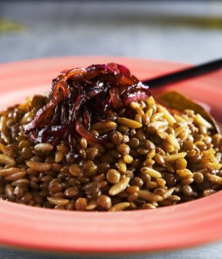 Lentils Cooked with Orzo & Caramelized Onions