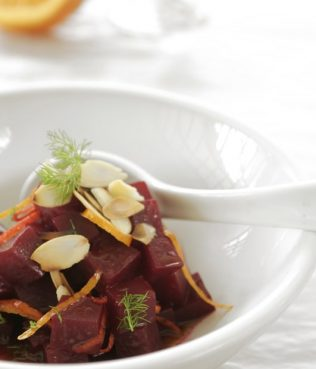 Roasted Beetroot Salad with Orange, Mastiha and Almonds