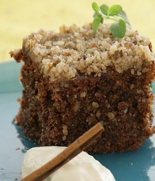 Spiced Walnut Cake with Vanilla Ice Cream