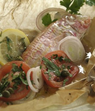 Red Mullet Packets Perfumed with Ouzo & Santorini Capers