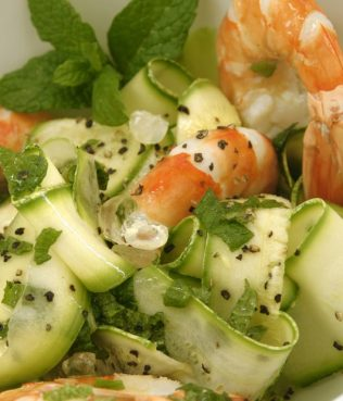 Shrimp and Zucchini Salad Marinated with Mastiha