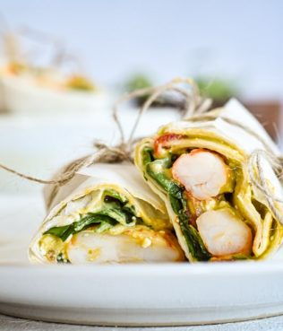 Grecamole Ouzo Seared Shrimp Wrap