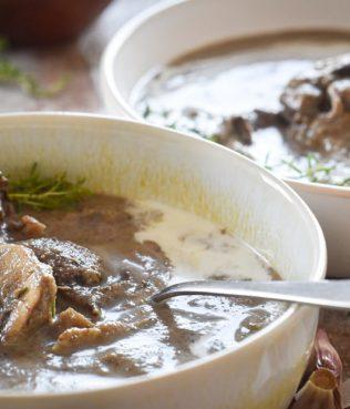 Velvety Mushroom Soup with Red Wine and Greek Yogurt