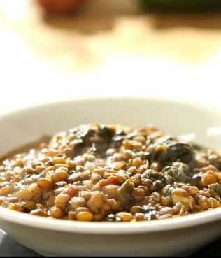 Lentil Soup with Green Olive Paste