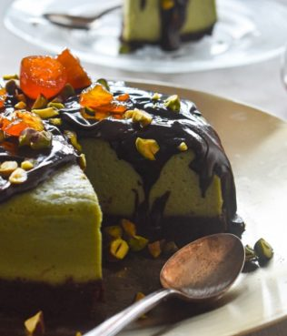 Pistachio Butter Chocolate Cheesecake
