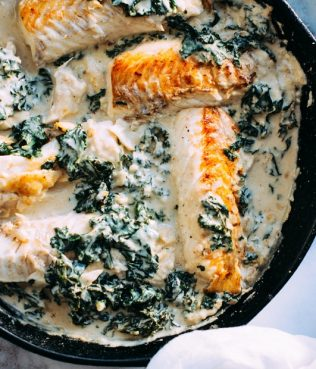 Salmon Cooked with Spinach & Feta Cream