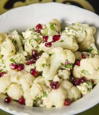 Steamed Cauliflower with Honey-Feta Dressing