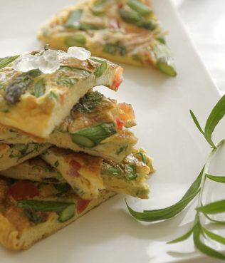 Asparagus, Basil and Tomato Frittata