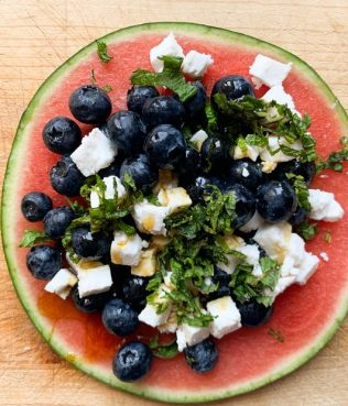 Red, White & Blueberry Watermelon Pizza