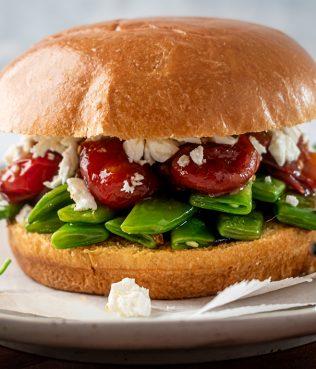Greek Bean - Feta Sandwich with Tomato Jam