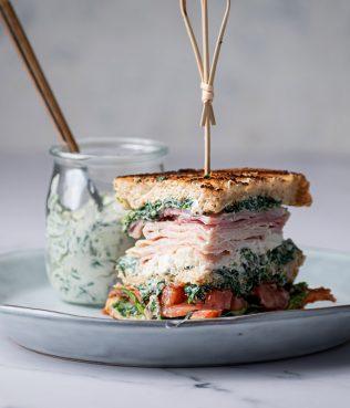 Turkey Club with Feta & Spinach-Yogurt Spread
