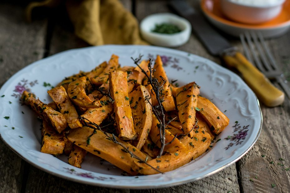 SWEET POTATO OVEN FRIED WITH HERBS
